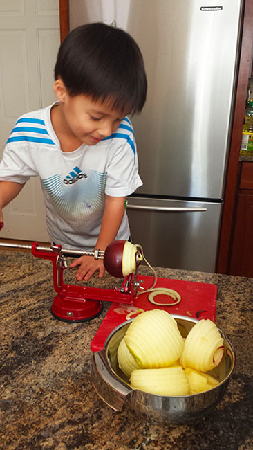 Apple Peeling, Coring and Slicing Gadget