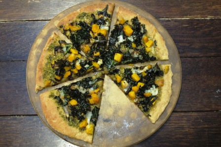 Recipe Redux: Butternut Squash, Caramelized Onion, Kale and Pesto Pizza