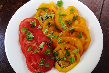 Sliced Yellow and Red Tomatoes with Fresh Basil and Balsamic Vinegar